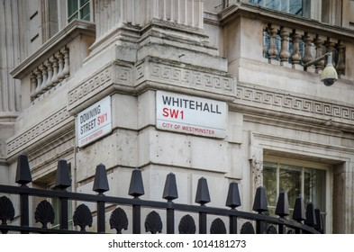 LONDON- JANUARY, 2018: Whitehall and Downing Street signs on the corner of the Department For Exiting the EU building.