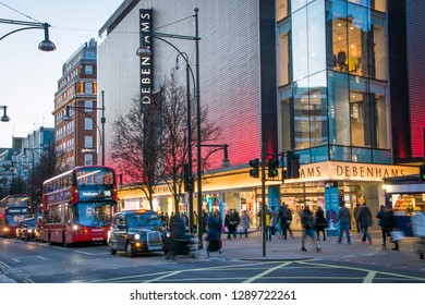 LONDON- JANUARY, 2019: Debenhams department store exterior on Oxford Street, a British multinational  retailer