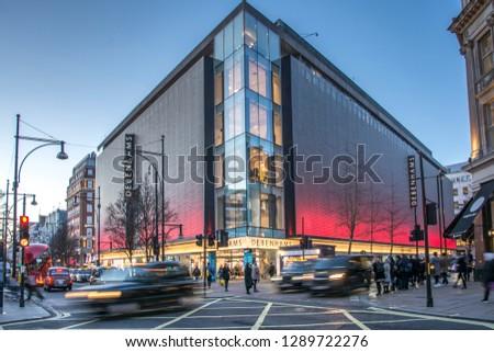 4e46dece1225d LONDON- JANUARY, 2019: Debenhams department store exterior on Oxford  Street, a British multinational retailer - Image