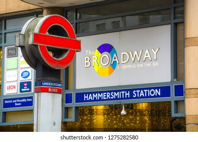 LONDON- JANUARY, 2019: Hammersmith Broadway shopping centre and underground station exterior