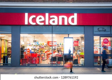 LONDON- JANUARY, 2019: Iceland Foods store exterior on high street, a British supermarket chain