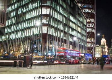 LONDON- JANUARY, 2019: Nova Victoria at night with light trails- a new development of offices, bars and restaurants next Victoria Station.