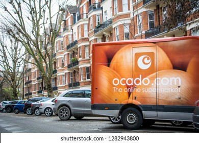 LONDON- JANUARY, 2019: Ocado delivery truck on residential street in north west London- a leading British online supermarket