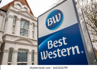 LONDON- JANUARY, 2020: Best Western hotel sign in west London, an large international hotel and resort brand