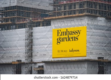 LONDON- JANUARY, 2020: Construction site at Nine Elms Embassy Gardens. A large residential and office development in south west London