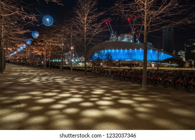 LONDON - January 20th 2017: Night view of Queen Elizabeth Olympic Park - London's legacy after the Games which includes world class sporting venues, now open to the public in Stratford, London, UK