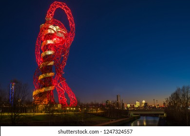 LONDON - January 20th 2017: Night view of the ArcelorMittal Orbit observation tower in Queen Elizabeth Olympic Park, legacy of 2012 Olympic games in Stratford, London