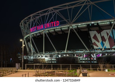 LONDON - January 20th 2017: Night view of the Olympic Stadium - legacy of the Games it was closed for renovation in 2013. Once re-opened in July 2016, it became a home of West Ham United Football Club
