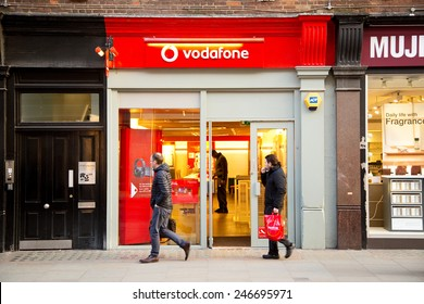 LONDON - JANUARY 22nd: The exterior of Vodafone on January the 22nd, 2015, in London, England, UK. Vodafone is one of the big phone suppliers in the uk.