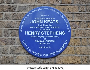 LONDON - JANUARY 23, 2016. A commemorative wall plaque commemorates John Keats and Henry Stephens, who once shared lodgings while studying at Guy's & St Thomas' Hospital in London, UK.