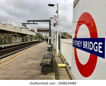 LONDON - JANUARY 23, 2018: Putney Bridge tube station on the District Line of the Underground network in Fulham, London, UK.