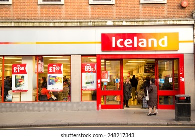 LONDON - JANUARY 23RD: The exterior of an Iceland supermarket on January  the 23rd, 2015, in London, England, UK. Iceland is one of Britain's fastest-growing retailers.