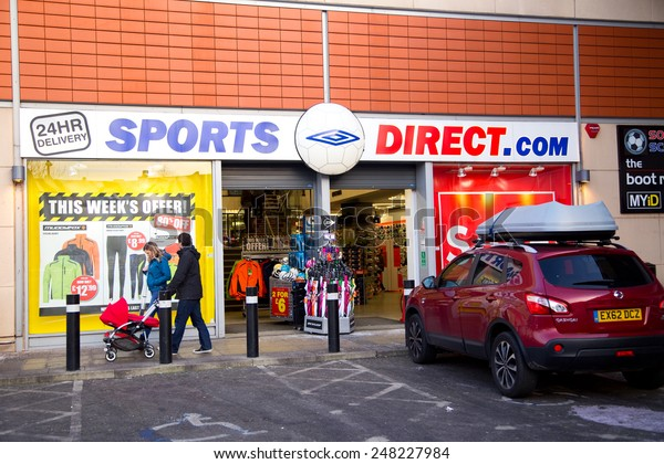 LONDON - JANUARY 23rd: The exterior of sports direct on January the 23rd, 2015, in London, England, UK. ports direct operates 270 stores in Europe.