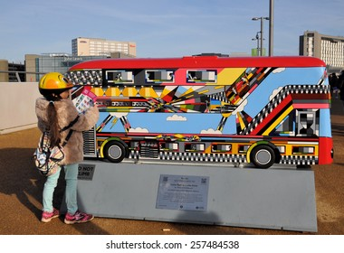 LONDON - JANUARY 24, 2015. London celebrates the importance of its buses with 60 decorative painted bus models on final exhibition; this one by Thomas Dowdeswell at Stratford, London, UK.