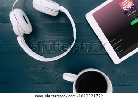 LONDON JANUARY 25 2018 Music Headphones Stock Photo (Edit