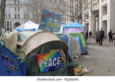 LONDON - JANUARY 5: Anti-Capitalist demonstrators protest and camp at St. Pauls Cathedral in London, England on January 5, 2012
