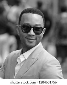 LONDON - JUL 06, 2015: ( Image digitally altered to monochrome ) John Legend seen at the Wimbledon Championships 2015 day seven
