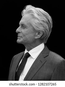 LONDON - JUL 08, 2015: ( Image digitally altered to monochrome ) Michael Douglas attends the Ant-Man - European premiere at the Odeon Leicester Square