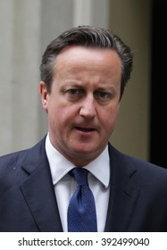 LONDON - JUL 14, 2015: David Cameron British Prime Minister seen leaving Downing Street on Jul 14, 2015 in London