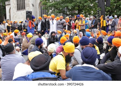 LONDON - JUL 15, 2015: Sikh demonstrators gathered to call for the British Government to cease it's support of the Indian Government on Jul 15, 2015 in London