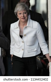 LONDON - JUL 15, 2018: Theresa May British Prime Minister seen leaving the BBC in London