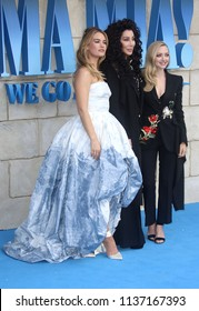LONDON - JUL 16, 2018: Lily James, Cher and Amanda Seyfried attend the Mamma Mia! Here We Go Again film premiere