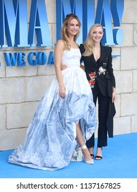 LONDON - JUL 16, 2018: Lily James and Amanda Seyfried attend the Mamma Mia! Here We Go Again film premiere
