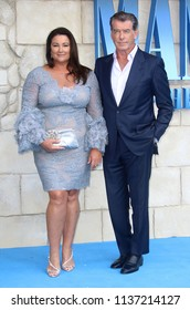 LONDON - JUL 16, 2018: Pierce Brosnan and wife Keely Shaye Smith attend the Mamma Mia! Here We Go Again film premiere