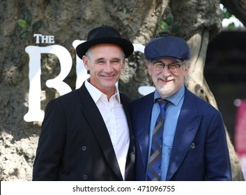 LONDON - JUL 17, 2016: Mark Rylance ( L ) and Director Steven Spielberg attend the UK Premiere of The BFG at Odeon Leicester Square on Jul 17, 2016 in London