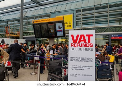 London, JUL 18: VAT refunds queue sign of the Heathrow airport on JUL 18, 2011 at London