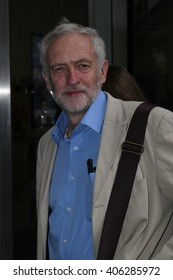 LONDON - JUL 26, 2015: Jeremy Corbyn arrives at the BBC Broadcasting House for The Andrew Marr Show on Jul 26, 2015 in London
