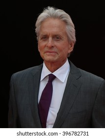 LONDON - JUL 8,  2015: Michael Douglas attends the Ant-Man - European premiere at the Odeon Leicester Square on Jul 8, 2015 in London