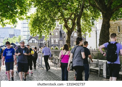 London, July, 01, 2018, Tourists walking along the streets of London in Summer, UK