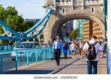 London, July, 01, 2018. Tourists are walking over Tower Bridge, London, UK