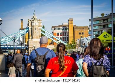 London, July, 01, 2018. Tourists are walking near Tower Bridge, London, UK