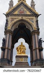 LONDON - JULY 03 2016: A close look to Albert Memorial in Kensington Gardens / Hyde Park.