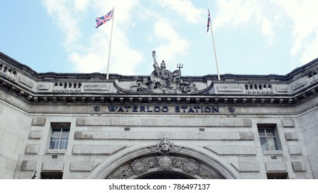 LONDON - JULY 05 2016: A Close View of Facade of Waterloo Station.