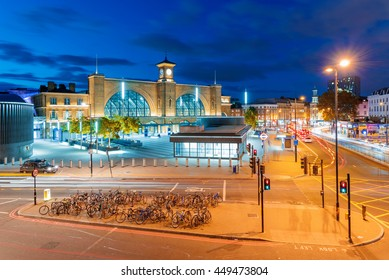 LONDON - JULY 06, 2016: Kings Cross station area at night time you can see many people passing through this area during the day as this is one of the main stations on July 06, 2016 in London