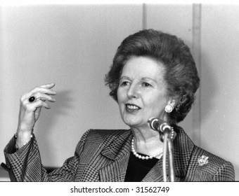LONDON - JULY 1: Hon. Margaret Thatcher, British Prime Minister, speaks on July 1, 1991 in London. She was Prime Minister from 1979-1990.