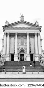 LONDON - JULY 10, 2018: Facade of Tate Britain museum in Millbank, UK. The art museum opened in 1897 houses a substantial collection of the United Kingdom art since Tudor times.