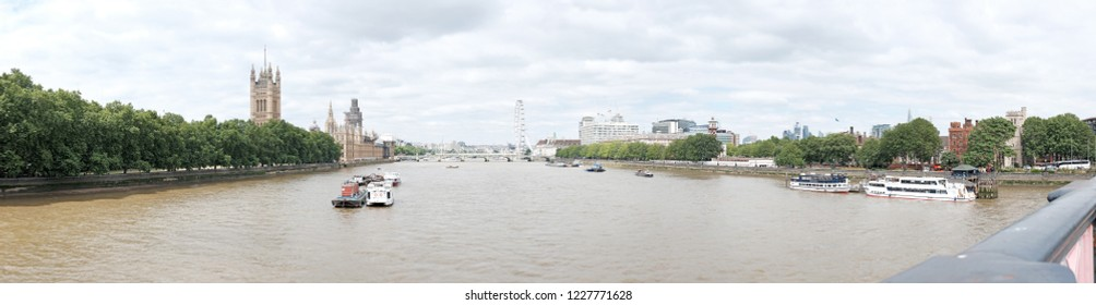 LONDON - JULY 10, 2018: Panoramic view of River Thames from Lambeth Bridge, Westminster, London. River Thames is the longest river in England.