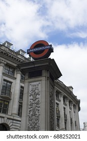 LONDON - July 12th, 2017: London Underground station entrance sign at Monument station. London Underground carries 1.1 billion passengers annually.