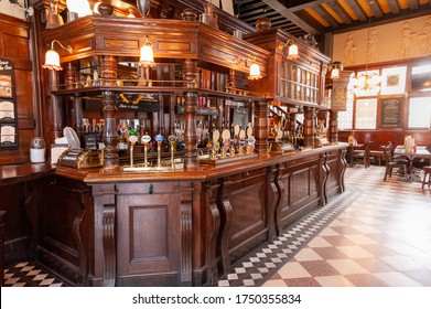 LONDON - JULY 14, 2010: interior of typical English pub, The Coal Hole on the Strand