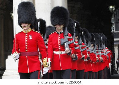 LONDON - JULY 14: Ceremonial Guard by Nijmegan Company of the Grenadier Guards preparing to greet the Malaysian Prime Minister Dato' Sri Najib Razak at Whitehall in Westminster, London, UK 14 July 2011.