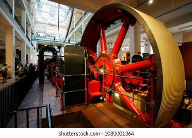 LONDON - JULY 14: Inside view of Science Museum, mill engine present, in South Kensington, founded in 1857, serve about 3 million visitors annually, on July 14, 2017, London, UK.