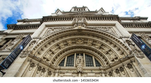 LONDON - JULY 14: Outside view of  Victoria and Albert Museum on July 14, 2017 in London, UK. Museum's Collections comprise 2.27 million items, decorative arts and design etc.