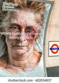 LONDON - JULY 2, 2015: Sign against violence in London subway. There is a growing prevention campaign across Euope.