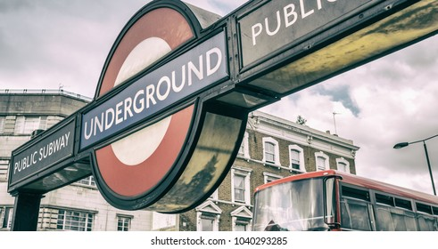 LONDON - JULY 2, 2015: London Underground station entrance. London Underground is the 11th busiest metro system worldwide with 1.1 billion annual rides.