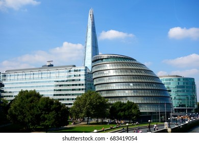 LONDON - JULY 2: City Hall is the headquarters of the Greater London Authority, which comprises the Mayor and the London Assembly, in London UK, July 2, 2017.