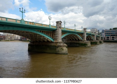 LONDON - JULY 2: Southwark Bridge is an arch bridge in London, England, for traffic linking the district of Southwark and the City across the River Thames, in London, UK, July 17, 2018.